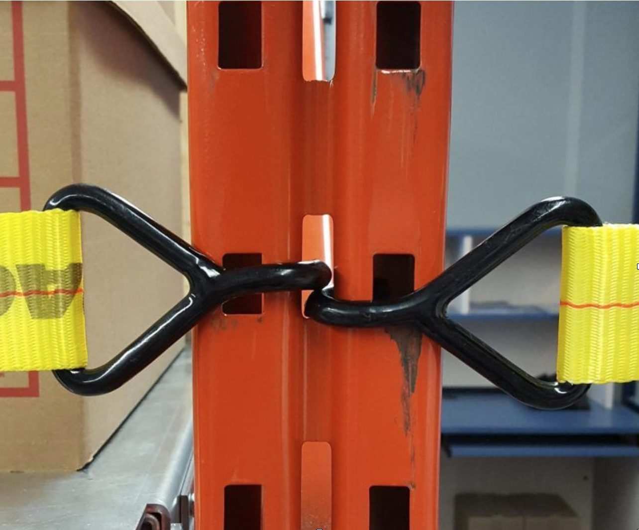 J Hook Style Attachment sewn into safety rack netting for quick and easy installation on universal pallet rack styles.